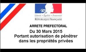 2015 Avril Arrêté préfectoral