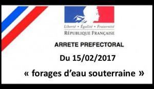 2017 Arrêté préfectoral forages d'eau souterraine